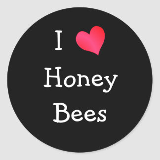 I Love Honey Bees Classic Round Sticker