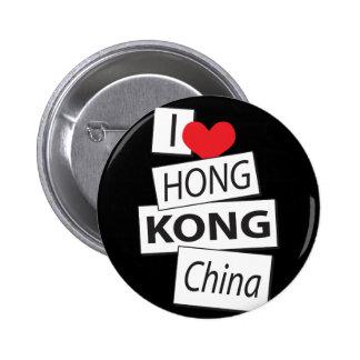 I Love Hong Kong China Button
