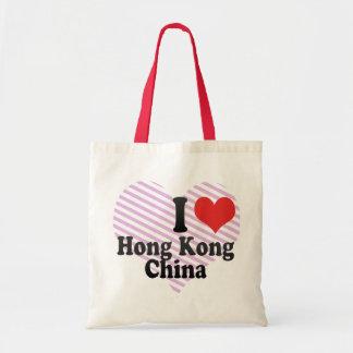 I Love Hong Kong+China Canvas Bags