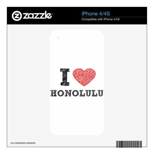 I Love Honolulu iPhone 4S Decals