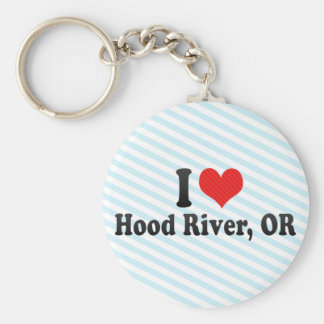 I Love Hood River, OR Basic Round Button Keychain