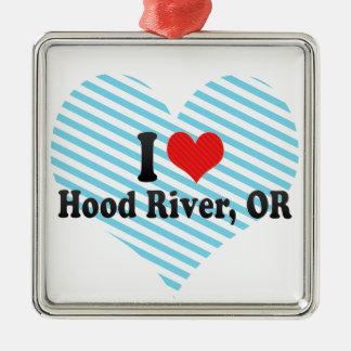 I Love Hood River, OR Square Metal Christmas Ornament