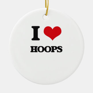 I love Hoops Double-Sided Ceramic Round Christmas Ornament