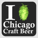 I love (hop) Chicago Craft Beer Square Stickers