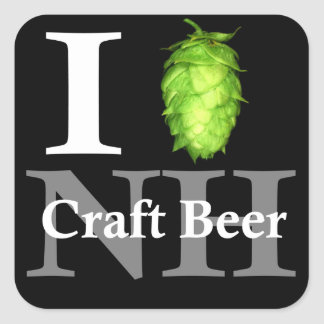 I love (hop) NH craft beer! Square Stickers