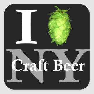I love (hop) NY craft beer! Square Sticker