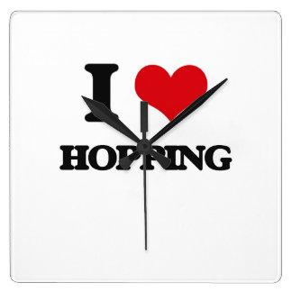 I love Hopping Square Wallclock
