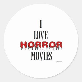 I love Horror movies Classic Round Sticker