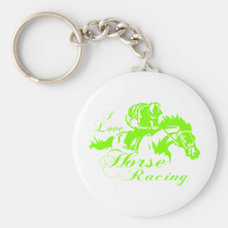 I LOVE HORSE RACING BASIC ROUND BUTTON KEYCHAIN