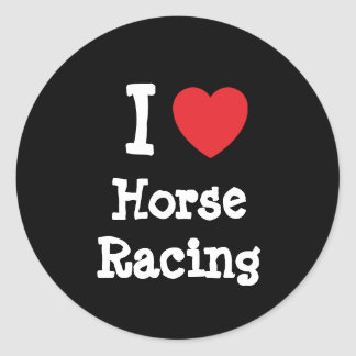I love Horse Racing heart custom personalized Classic Round Sticker
