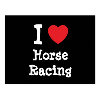 I love Horse Racing heart custom personalized Postcard
