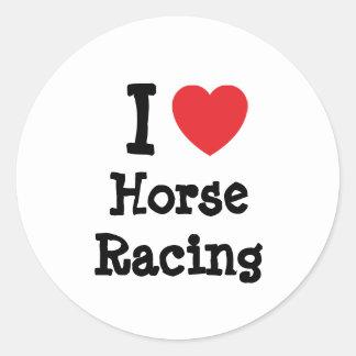 I love Horse Racing heart custom personalized Classic Round Sticker