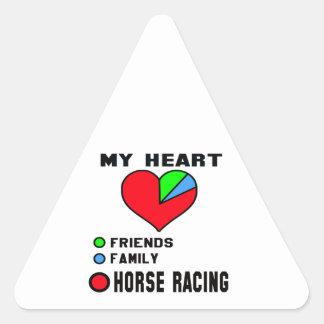 I love Horse Racing. Triangle Sticker