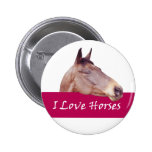 I Love Horses 2 Inch Round Button