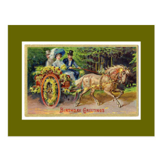 I love horses birthday postcard