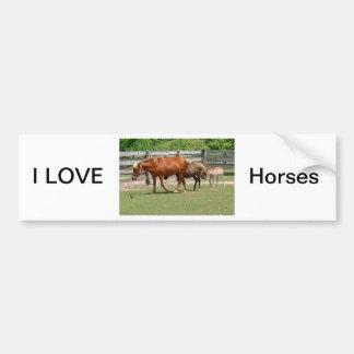 I Love Horses Bumper Sticker Car Bumper Sticker