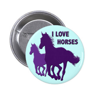 I LOVE HORSES BUTTON
