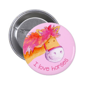 I love horses button/badge 2 inch round button