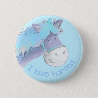 I love horses button/badge blue button