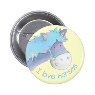 I love horses button/badge blue & yellow 2 inch round button