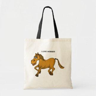 I love horses. Cartoon horse on a tote bag.