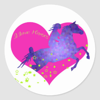 I love horses classic round sticker