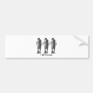 I Love Horses: Drawing of Three Horse Rear Ends Bumper Sticker