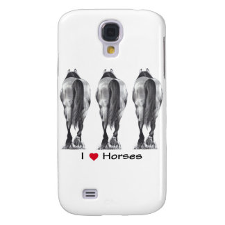 I Love Horses: Drawing of Three Horse Rear Ends Samsung S4 Case