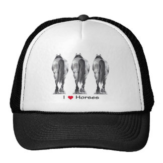 I Love Horses: Drawing of Three Horse Rear Ends Trucker Hat