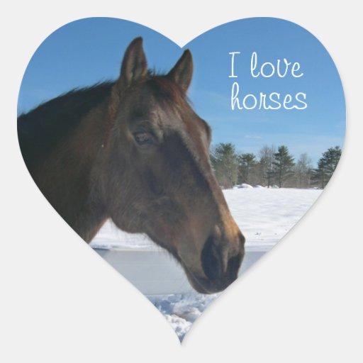 I Love Horses Heart Shaped Sticker