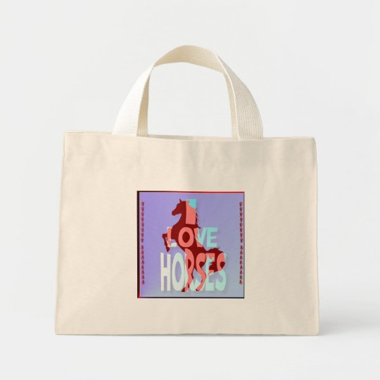 I Love Horses Mini Tote Bag