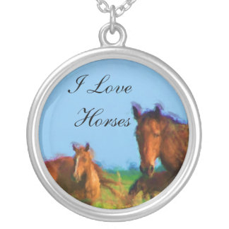 I Love Horses Round Pendant Necklace