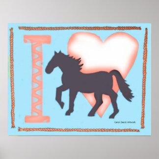 I Love Horses original illustration by Carol Zeock Poster