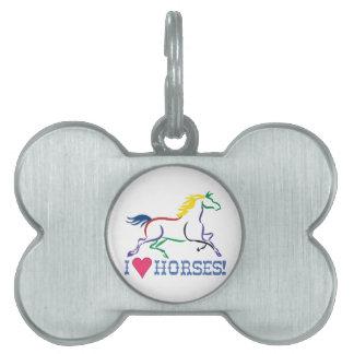 I Love Horses Pet Name Tag