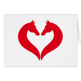 I love horses, red heart with horse head card
