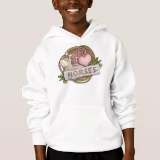 I LOVE Horses Youth Kids Hoodie Sweatshirt