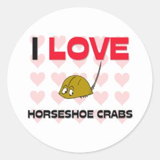 I Love Horseshoe Crabs Round Sticker