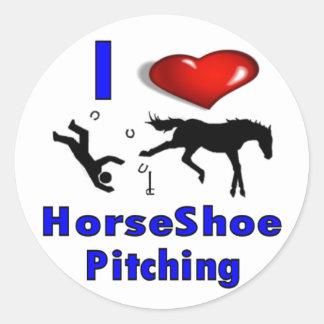 I Love HorseShoe Pitching Classic Round Sticker