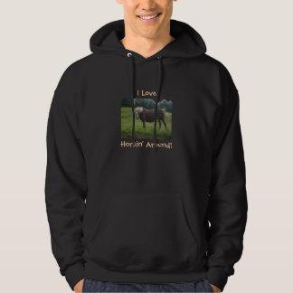 I Love, Horsin' Around!-Horse Design Hoodie