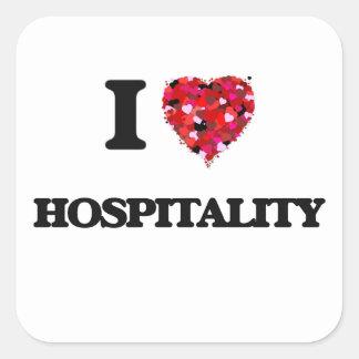I Love Hospitality Square Sticker