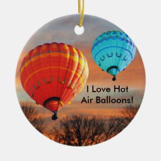 I Love Hot Air Balloons Ceramic Ornament