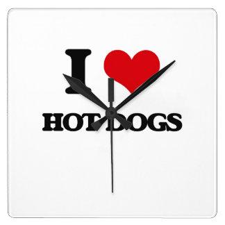 I Love Hot Dogs Wallclock