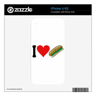 I Love Hot Dogs * Decal For iPhone 4