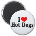 I Love Hot Dogs Fridge Magnets