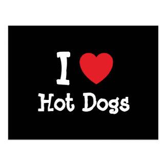 I love Hot Dogs heart T-Shirt Postcard
