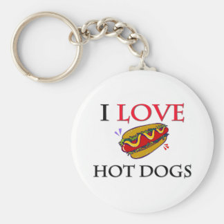 I Love Hot Dogs Keychain