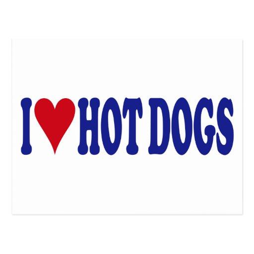 I Love Hot Dogs Postcard
