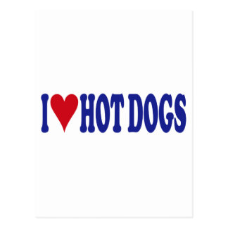 I Love Hot Dogs Postcard