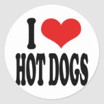 I Love Hot Dogs Round Sticker