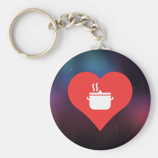 I Love Hot Soups Cool Symbol Basic Round Button Keychain